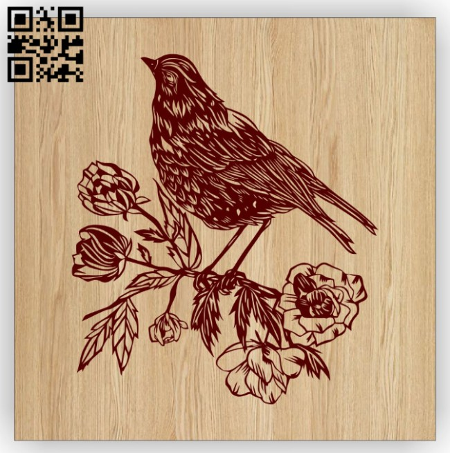 Bird with flowers E0014927 file cdr and dxf free vector download for laser engraving machine
