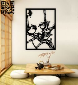 Birds on a branch  wall decor E0014966 file cdr and dxf free vector download for laser cut plasma