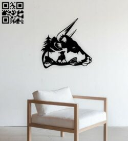 Bison wall decor E0014869 file cdr and dxf free vector download for laser cut plasma
