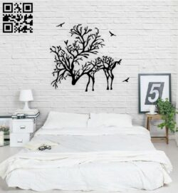 Branch deer E0014907 file cdr and dxf free vector download for laser cut plasma