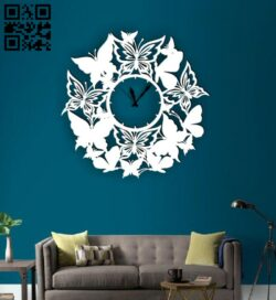 Butterfly clock E0014958 file cdr and dxf free vector download for laser cut plasma