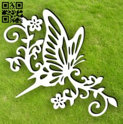 Butterfly in flower E0014964 file cdr and dxf free vector download for laser cut plasma