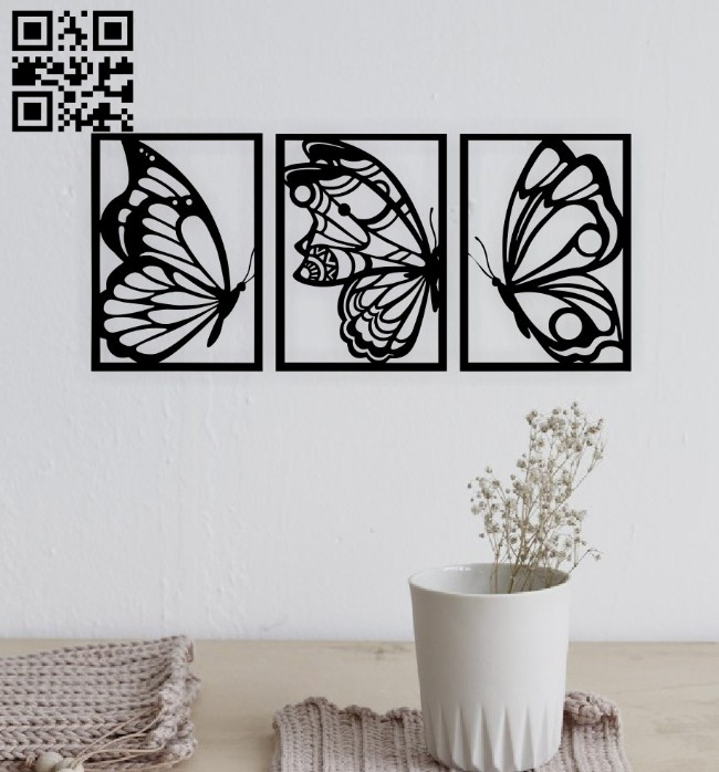Butterfly wall decor E0014892 file cdr and dxf free vector download for laser cut plasma