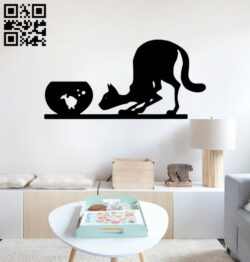 Cat with fish wall decor E0014914 file cdr and dxf free vector download for laser cut plasma