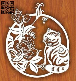 Cat with flower E0015042 file cdr and dxf free vector download for laser cut