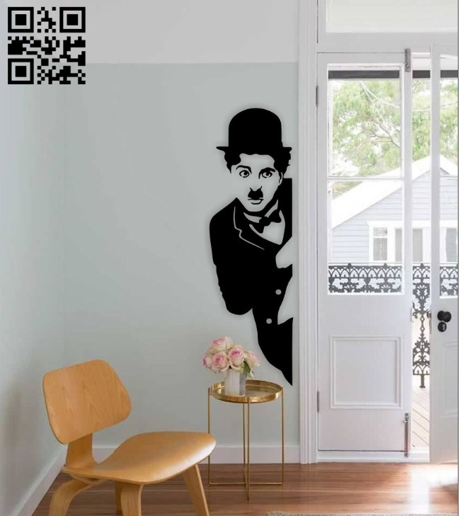 Charles Chaplin wall decor E0014894 file cdr and dxf free vector download for laser cut plasma