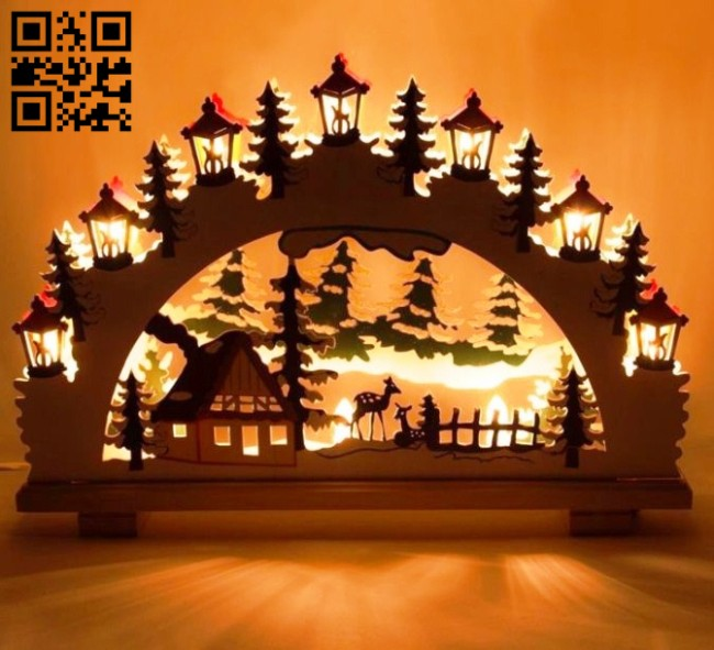 Christmas light E0014863 file cdr and dxf free vector download for laser cut