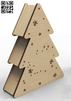 Christmas tree box E0014968 file cdr and dxf free vector download for laser cut