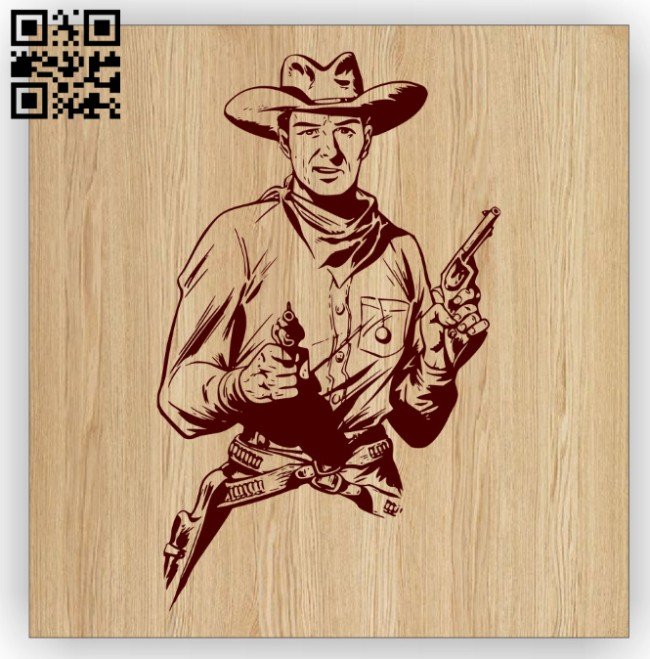 Cowboy E0014926 file cdr and dxf free vector download for laser engraving machine