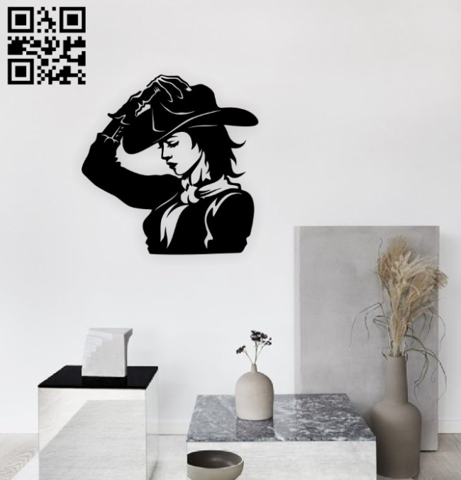 Cowgirl E0014940 file cdr and dxf free vector download for laser engraving machine
