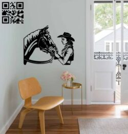 Cowgirl with horse E0015005 file cdr and dxf free vector download for laser cut plasma