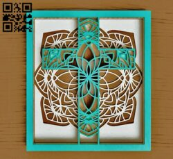 Cross in frame E0014974 file cdr and dxf free vector download for laser cut