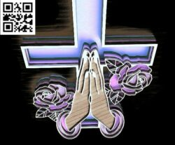 Cross with hand E0014931 file cdr and dxf free vector download for laser cut plasma