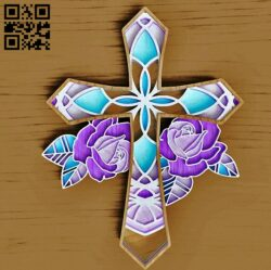 Cross with rose E0014973 file cdr and dxf free vector download for laser cut
