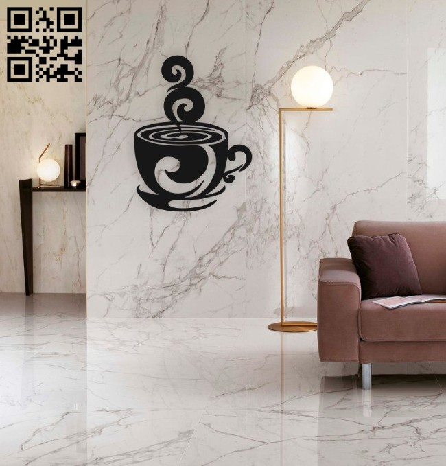 Cup of coffee E0014960 file cdr and dxf free vector download for laser cut plasma