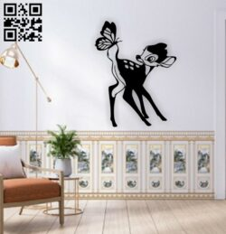Deer with butterfly wall decor E0014917 file cdr and dxf free vector download for laser cut plasma
