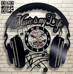 Headphone clock E0014938 file cdr and dxf free vector download for laser cut
