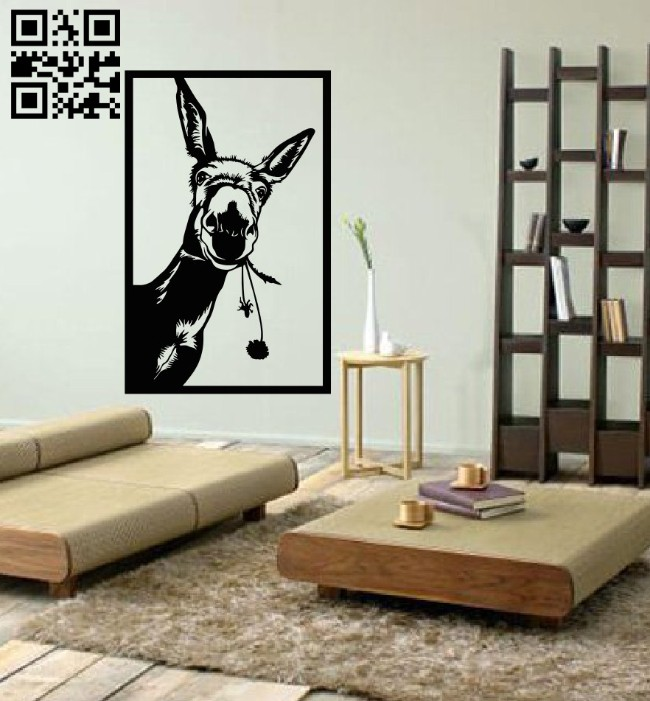 Donkey wall decor E0014921 file cdr and dxf free vector download for laser cut plasma