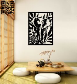 Elephant panel E0015006 file cdr and dxf free vector download for laser cut plasma