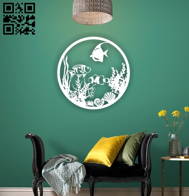 Fishes wall decor E0014916 file cdr and dxf free vector download for laser cut plasma