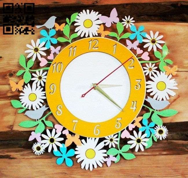 Flower clock E0014877 file cdr and dxf free vector download for laser cut