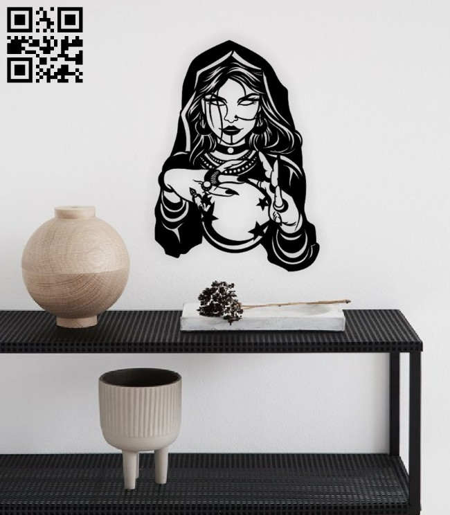 Fortune teller woman E0015015 file cdr and dxf free vector download for laser engraving machine