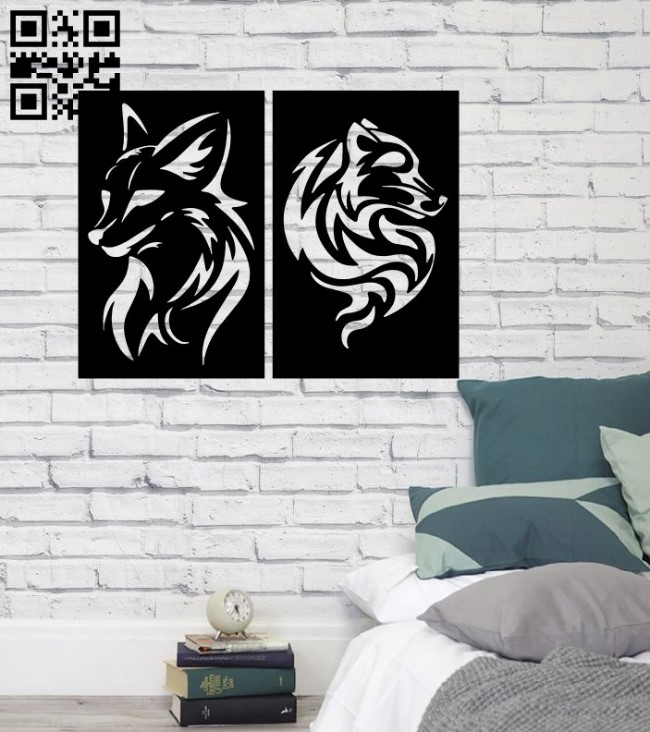 Fox wall decor E0014909 file cdr and dxf free vector download for laser cut plasma