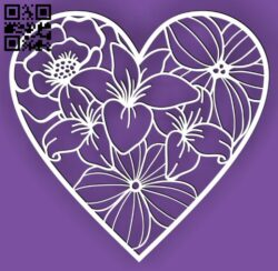 Heart flowers E0015045 file cdr and dxf free vector download for laser cut plasma