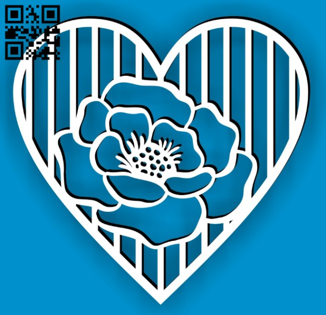 Heart with flower E0014983 file cdr and dxf free vector download for laser cut plasma