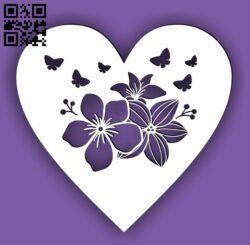 Heart with flower E0014984 file cdr and dxf free vector download for laser cut plasma