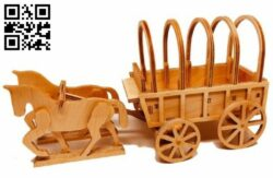 Horse wagon E0015009 file cdr and dxf free vector download for laser cut