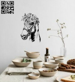 Horse with flowers E0014871 file cdr and dxf free vector download for laser cut plasma
