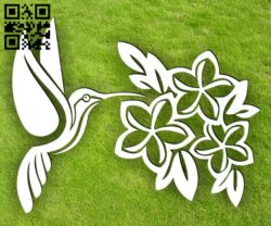 Hummingbird with flowers E0014897 file cdr and dxf free vector download for laser cut plasma