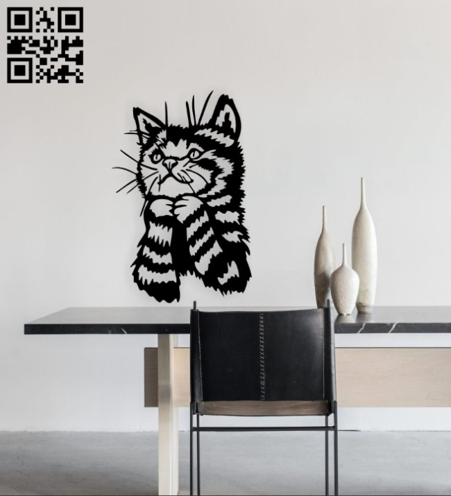 Kitten wall decor E0015021file cdr and dxf free vector download for laser cut plasma