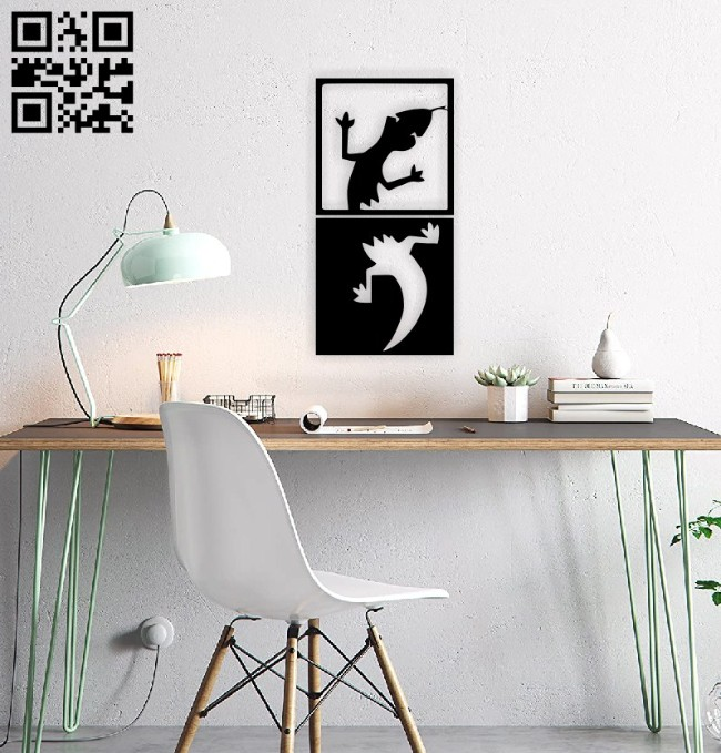 Lizard wall decor E0014876 file cdr and dxf free vector download for laser cut plasma