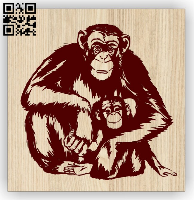 Monkey E0014884 file cdr and dxf free vector download for laser engraving machine
