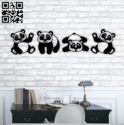 Panda wall decor E0014908 file cdr and dxf free vector download for laser cut plasma