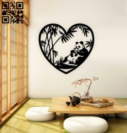 Panda with heart E0014872 file cdr and dxf free vector download for laser cut plasma