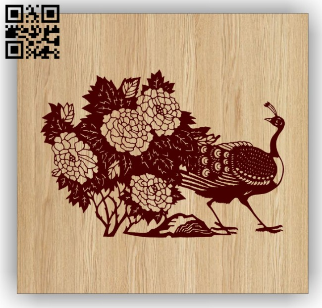 Peacock with flowers E0014929 file cdr and dxf free vector download for laser engraving machine
