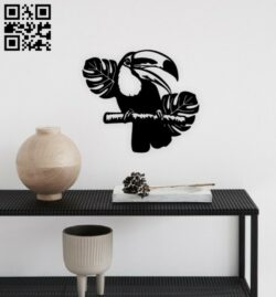 Pelican bird wall decor E0014870 file cdr and dxf free vector download for laser cut plasma