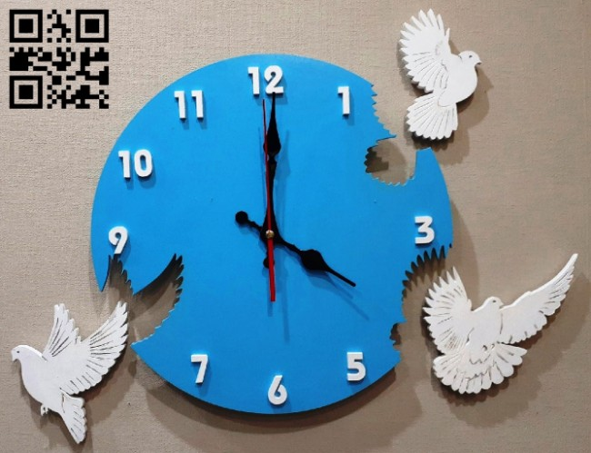 Pigeon clock E0014977 file cdr and dxf free vector download for laser cut
