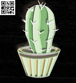 Potted cactus E0015053 file cdr and dxf free vector download for laser cut