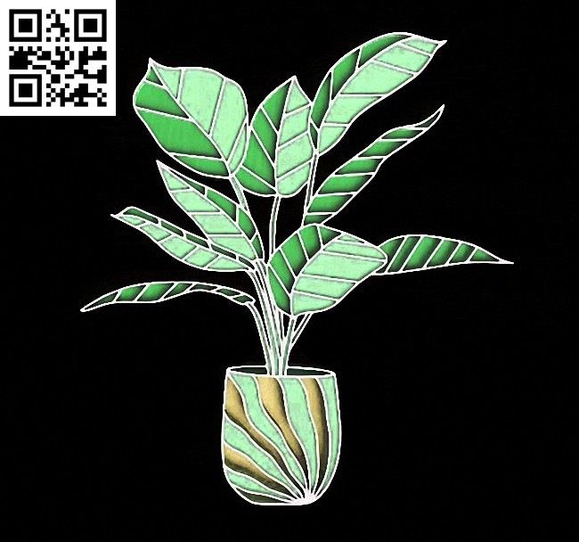 Potted plant E0014972 file cdr and dxf free vector download for laser cut