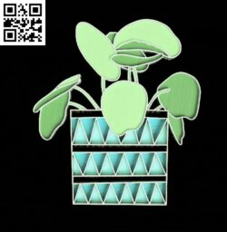 Potted plant E0014992 file cdr and dxf free vector download for laser cut