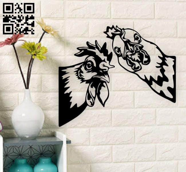 Roosters wall dcor E0014873 file cdr and dxf free vector download for laser cut plasma