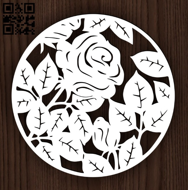Rose in a circle E0014951 file cdr and dxf free vector download for laser cut plasma