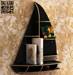 Sailboat bookshelf E0015079 file cdr and dxf free vector download for laser cut