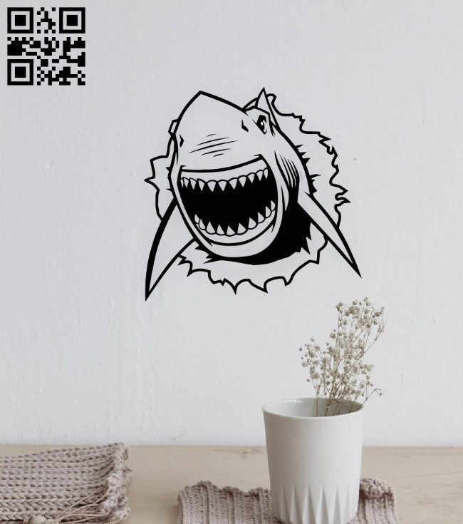 Shark wall decor E0015058 file cdr and dxf free vector download for laser cut plasma
