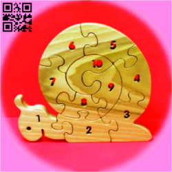 Snail number puzzle E0014905 file cdr and dxf free vector download for laser cut