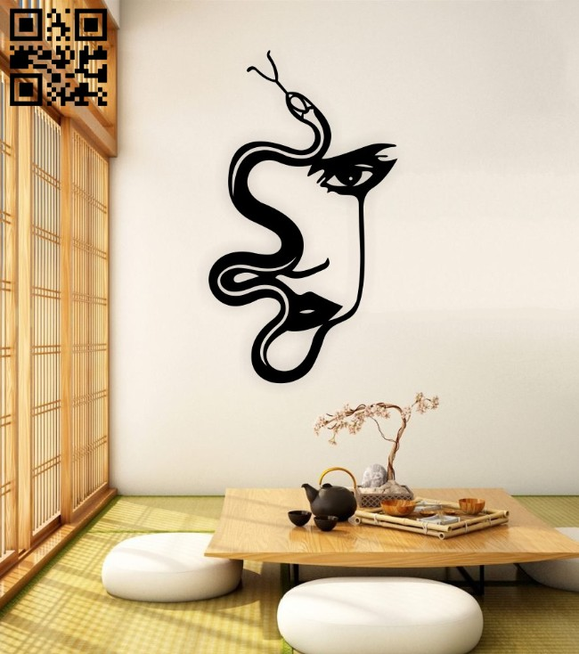 Snake lady face wall decor E0014889 file cdr and dxf free vector download for laser cut plasma